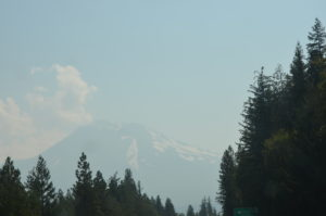 Hazy, smoky view of Mt. Shasta on 8/22/2017.